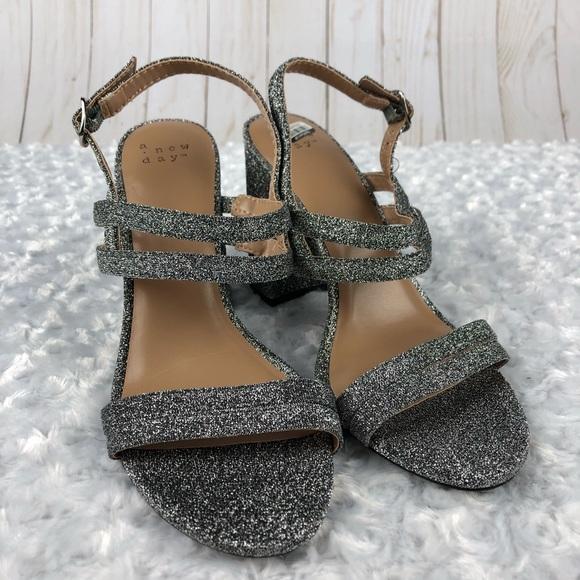 A New Day Silver Women/'s Estella Strappy Stiletto Heeled Sandal Pumps